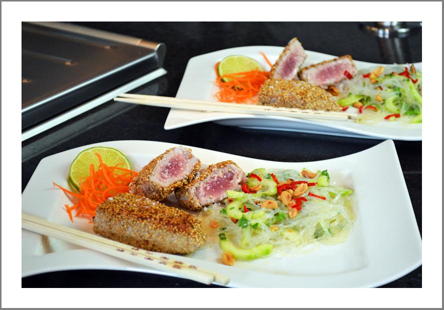 Thunfisch im Sesammantel mit Glasnudelsalat - Ines kocht