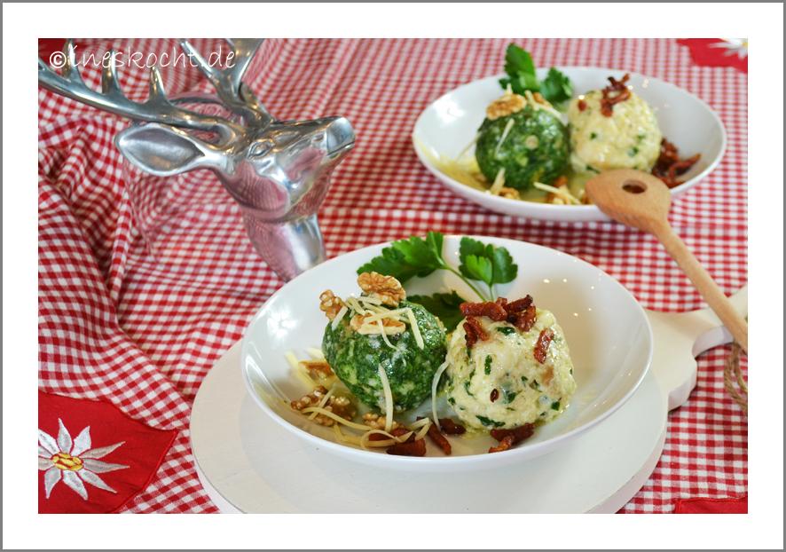 Tiroler Käse-und Spinatknödel