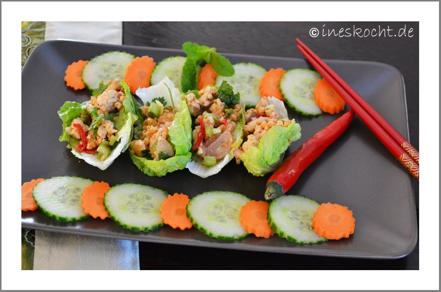 Laab Gai, thailändischer Hähnchensalat