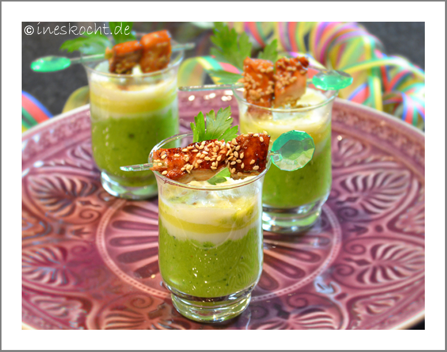 Erbsen-Wasabi-Shot mit Lachsteriyaki