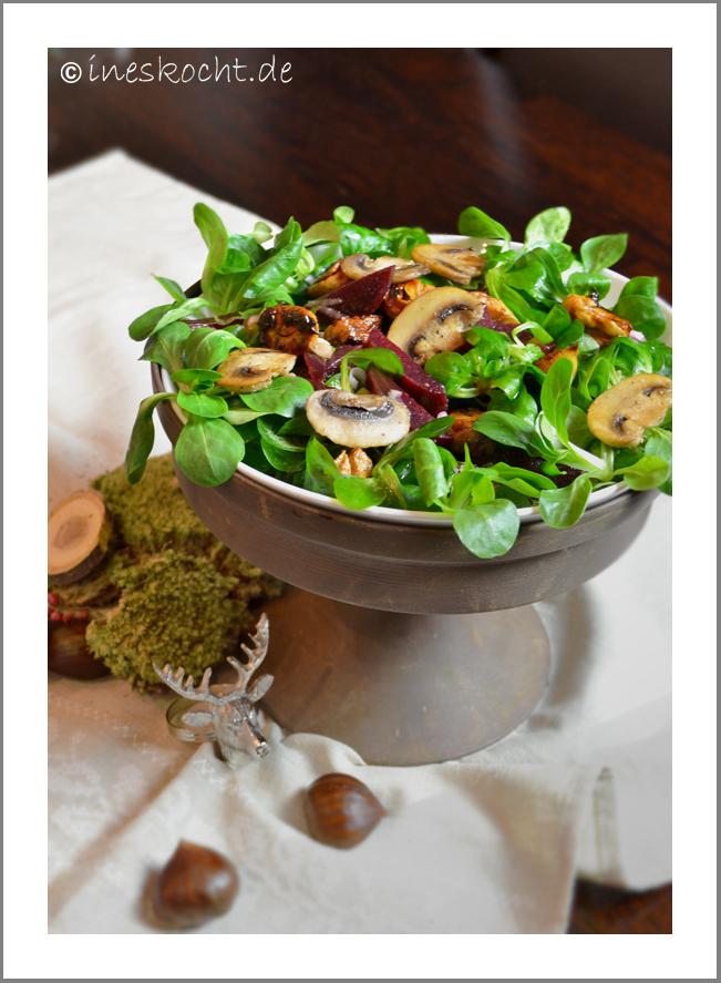 Rote Beete Salat mit Maronen und Champignons