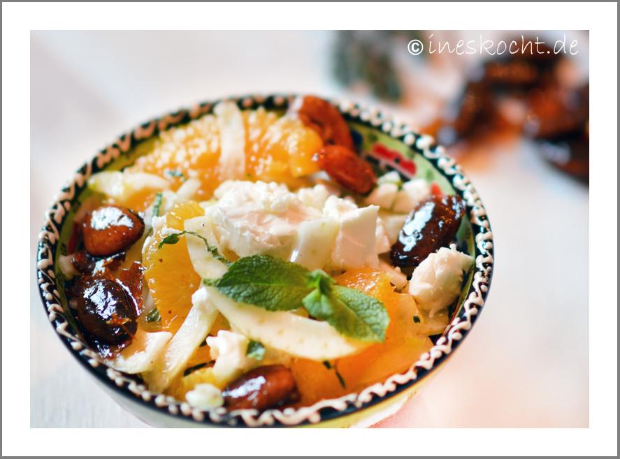 Orangen-Fenchel-Salat mit Feta und Honigmandeln